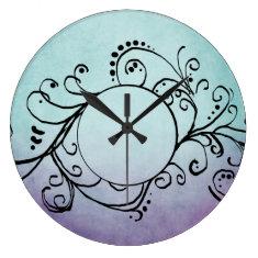 Rustic Teal and Purple Bohemian  Flourish Round Clocks