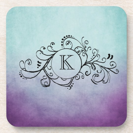 Rustic Teal and Purple Bohemian  Flourish Coaster