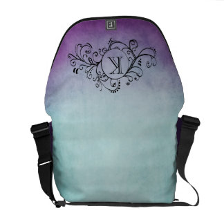 Rustic Teal and Purple Bohemian  Flourish Courier Bag