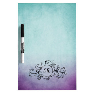 Rustic Teal and Purple Bohemian  Flourish Dry-Erase Boards
