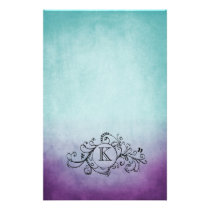 Rustic Teal and Purple Bohemian  Flourish Stationery