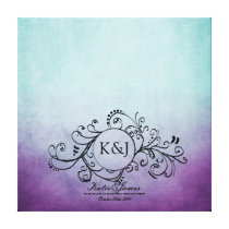 Rustic Teal and Purple Bohemian Guest Book Canvas