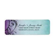 Rustic Teal and Purple Bohemian Return Address Return Address Label