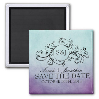 Rustic Teal and Purple Bohemian Save The Date 2 Inch Square Magnet