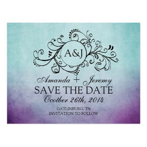 Blue and Green Save the Date