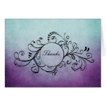 Rustic Teal and Purple Bohemian Thank You Note Stationery Note Card