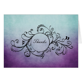 Rustic Teal and Purple Bohemian Thank You Note Card