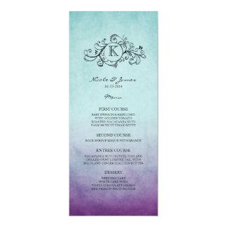 Rustic Teal and Purple Bohemian Wedding Menu Card