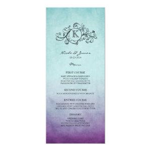 Rustic Teal and Purple Bohemian Wedding Menu 4x9.25 Paper Invitation Card