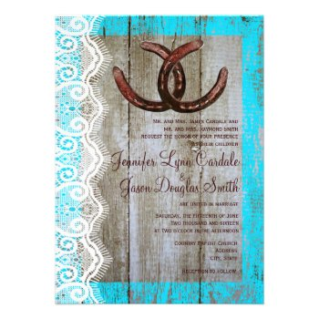 Rustic Teal Barn Wood Horseshoe Wedding Invitation