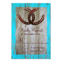 Rustic Teal Barn Wood Horseshoe Wedding RSVP Cards