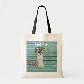 rustic teal barnwood floral country wedding tote bag