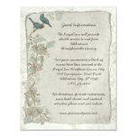 Rustic Teal Birds Damask Wedding Information Card Invitation