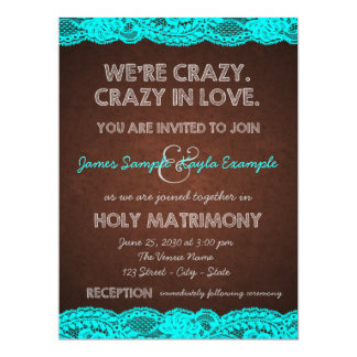 Rustic Teal Blue and Brown Country Wedding Card