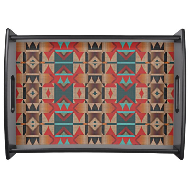 Rustic Teal Blue Turquoise Orange Red Brown Mosaic Serving Tray Zazzle Com