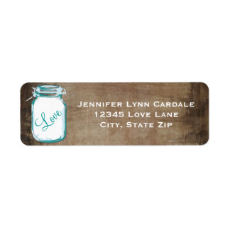 Rustic Teal Brown Mason Jar Wedding Address Label