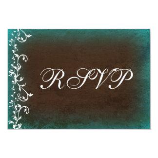 Rustic Teal Brown Swirls Wedding RSVP Cards