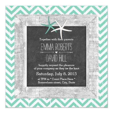 Beach Themed Rustic Teal Chevron Wood Framed Starfish Wedding Card