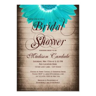 Rustic Teal Daisy Bridal Shower Invitations