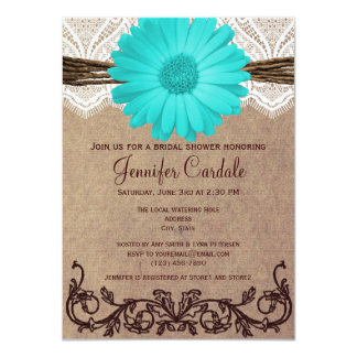Rustic Teal Daisy Bridal Shower Invitations Personalized Invitations
