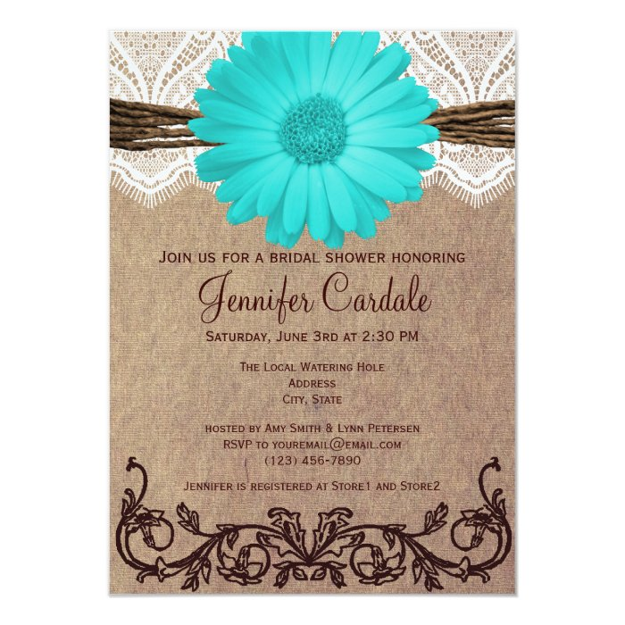 rustic teal daisy bridal shower invitations zazzle