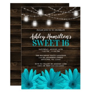 Rustic Teal Daisy Mason Jar Lights Sweet 16 Invitation