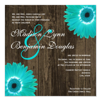 Rustic Teal Daisy Square Wedding Invitations