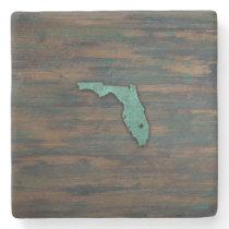 Rustic Teal Florida Shape Stone Coaster