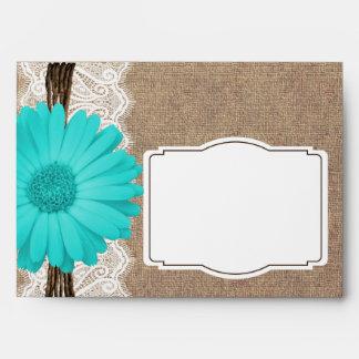 Rustic Teal Gerber Daisy Lace Custom Envelopes