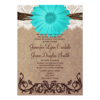 Rustic Teal Gerber Daisy Lace Wedding Invitation Custom Announcements