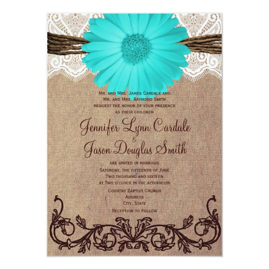 Rustic Teal Gerber Daisy Lace Wedding Invitation