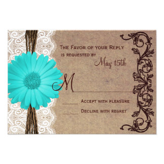 Rustic Teal Gerber Daisy Lace Wedding RSVP Cards