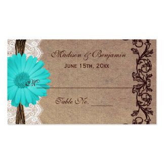 Rustic Teal Gerber Daisy Wedding Place Cards Business Card