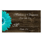 Rustic Teal Gerber Daisy Wedding Place Cards Double-Sided Standard Business Cards (Pack Of 100)