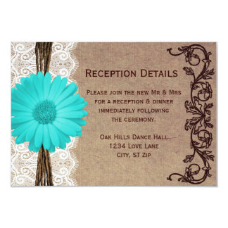 Rustic Teal Gerber Daisy Wedding Reception Cards
