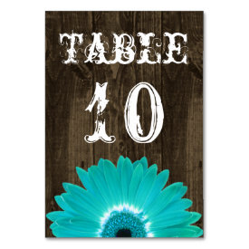 Rustic Teal Gerber Daisy Wedding Table Number Card Table Cards