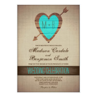 Rustic Teal Heart Arrow Country Wedding Invites
