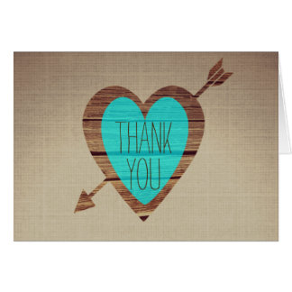 Rustic Teal Heart Arrow Thank You Notes