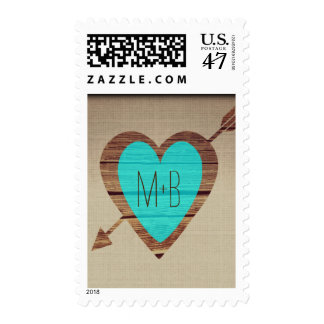 Rustic Teal Heart Arrow Wedding Postage Stamps