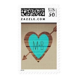 Rustic Teal Heart Arrow Wedding Postage Stamps