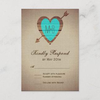 Rustic Teal Heart Arrow Wedding RSVP Cards