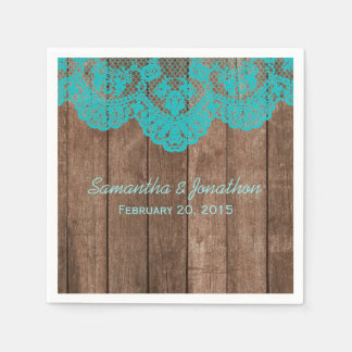 Rustic Teal Lace and Wood Wedding Standard Cocktail Napkin