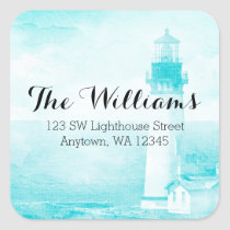 Rustic Teal Lighthouse Address Label