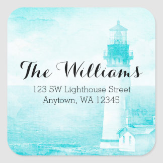 Rustic Teal Lighthouse Address Label Square Sticker