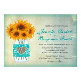 Rustic Teal Mason Jar Sunflower Wedding Invites