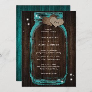 Rustic Teal Mason Jar Wedding Invitations