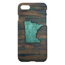 Rustic Teal Minnesota Shape iPhone 8/7 Case