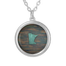 Rustic Teal Minnesota Shape Silver Plated Necklace