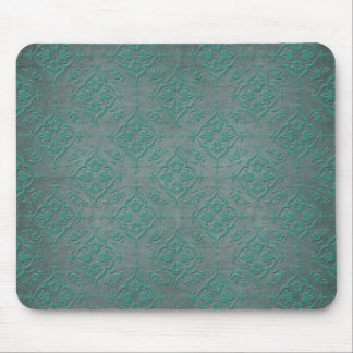 Rustic Teal over Pewter Steel Grey Damask Mouse Pad
