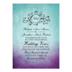 Rustic Teal Purple Bohemian Wedding Invitation